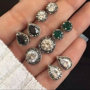(5) PAIR BOHO ANTIQUE CRYSTAL EARRING STUDS